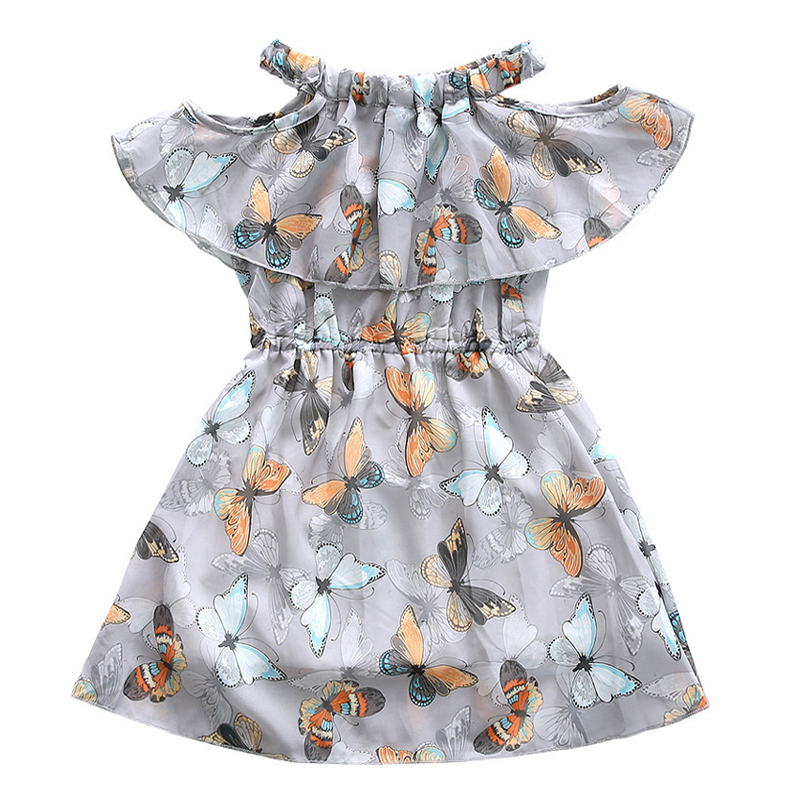Baby   Girl     Dress   2018 Summer Off Shoulder   Flowers     Girls     Dress   Butterfly Print Princess Kids   Dresses   Children Clothes Vestidos