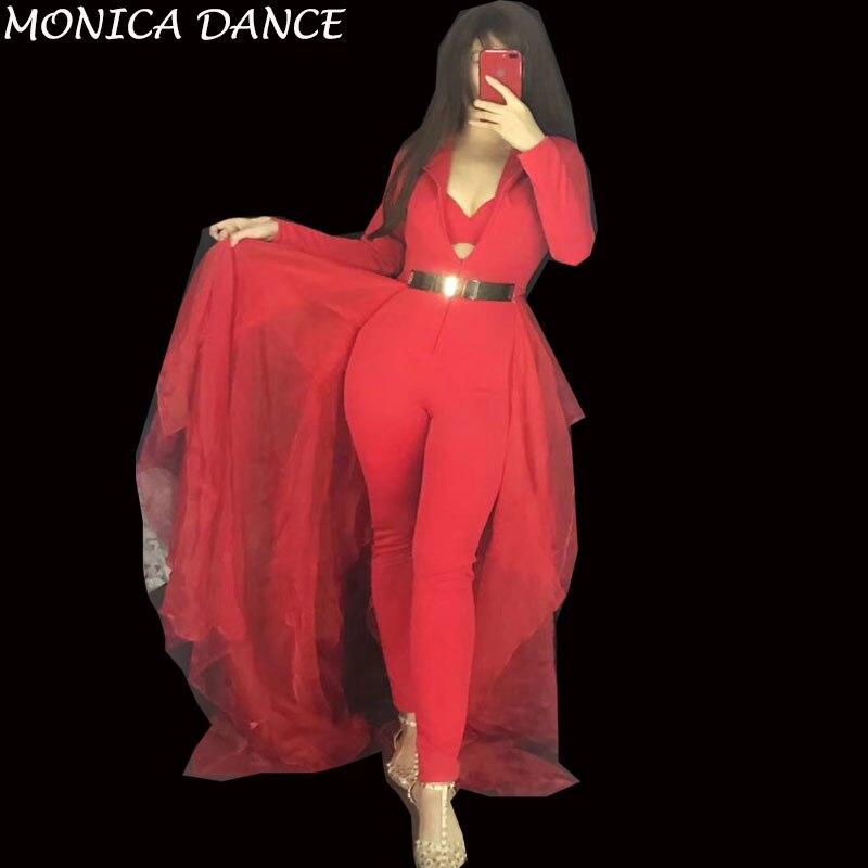 cou Body D'anniversaire Soutien Solide Salopette Scène Tenue Maille Chanteur Sexy Femmes Rouge Grand Boîte Spectacle Queue De Outfit Danse Set Nuit Bal V gorge PnqwF7EC