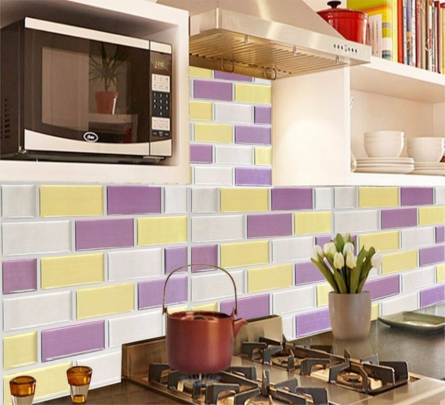 Wall Tile Easy Clean And Removable DIY Vinyl Wall Tiles For Kitchen Home  Wall Decoration 2.0