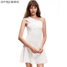 Новое поступление пикантные трикотажное летнее платье модные Повседневное Sleevless черный, белый цвет с открытыми плечами Для женщин Мини-платья Vestidos Femme