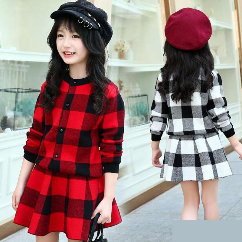 2018 Kids Clothes Toddler Girls Clothing Set Children's Cotton Sweater Teens Girl Two-piece Suits Plaid Cardigan Sweater + Skirt