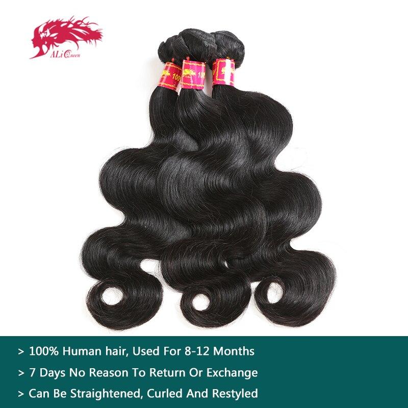 Ali Reine Cheveux ondulation de cheveux brésiliens Bundles Naturel Couleur 8-30 pouces 100% cheveux humains tissage 3 pièces Lot Remy Corps Vague faisceaux