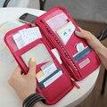 2016 Portable Full Closure Zipper Travel Organiser Passport Holder Wallet Full Closure Zip Document Bag Travel passport Wallet