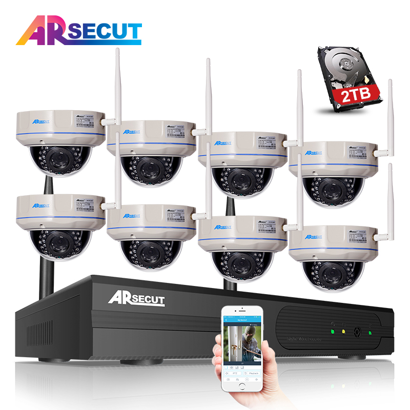 Plug And Play 8CH NVR Wireless CCTV System 2TB HDD 720P HD H.264 Vandalproof Dome Home Video Surveillance Security IP Camera Kit