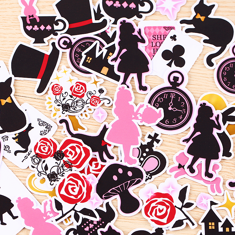 36pcs/pack Creative Kawaii Self-made Alice's Dream Stickers Scrapbooking Stickers /DIY Craft Photo Albums