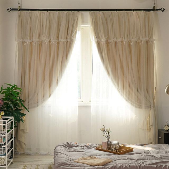 sunnyrain 1 pieza de color beige de doble capa cortina para sala blackout cortinas para nios dormitorio drapes personalizable - Cortinas Beige