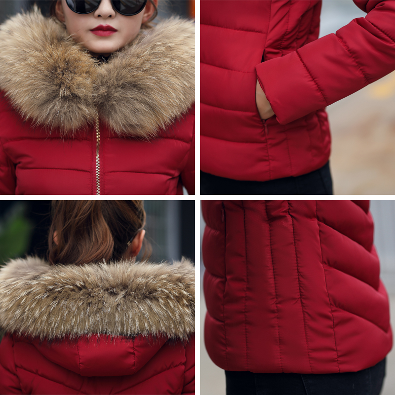 Plus Size 3XL 4XL Female Coat Autumn With Fur Collar Hooded Cotton Padded Winter Jacket Women Short Outwear Basic Jacket  5