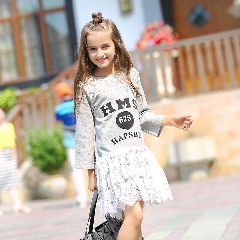 Teenager Girls Dresses Autumn Long Sleeves Lace Dress 10 12 13 14 Girl Children Cute Kids Princess Dresses Baby Girl Clothing