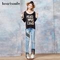 Alma corazón Negro Color de la Camiseta de Impresión Carta Informal Tops Camiseta de La Moda de Primavera Ropa de Verano 2017 de la venta Caliente de La Camiseta Para Chica