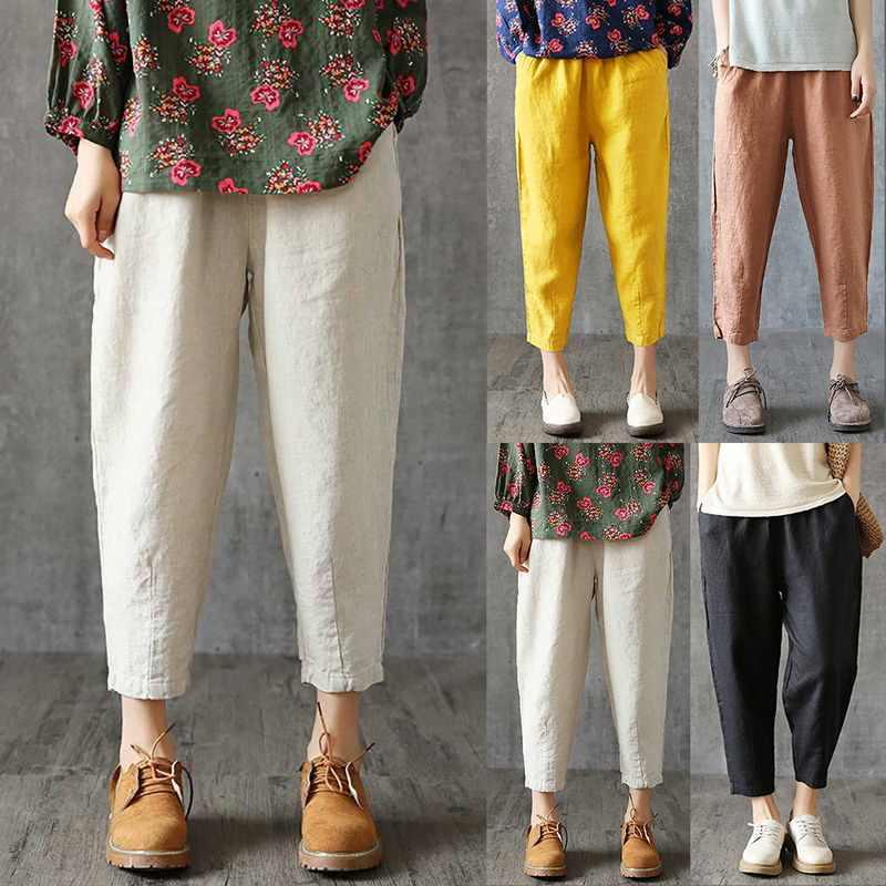 CALOFE pantalones de lino de mujer pantalones de verano Capris sueltos de tela fina de lino pantalones de algodón de Color sólido Harem pantalones de talla grande para mujer 2019