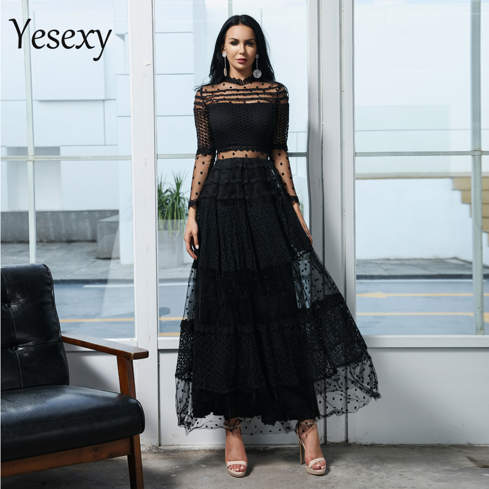 Yesexy 2019 Women Sexy High Neck Long Sleeve Dot Dresses Female Lace Dress Casual Elegant Dress