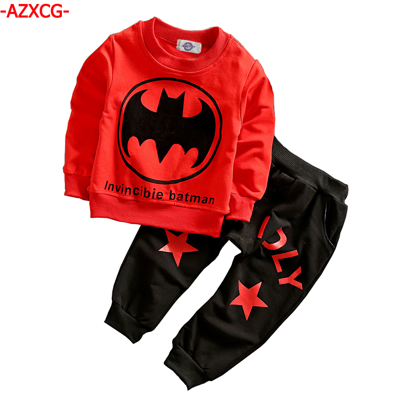 Baby Boys Clothes Set Kids 2Pcs Batman Printed Sport Suit Boy Cotton Long Sleeve T-shirt +Pants Tracksuit Boys 1 2 3 4 Years iyeal fashion baby boys clothes set cotton long sleeve tops vest pants 3 pieces suit for kids boy children clothing 1 4 years