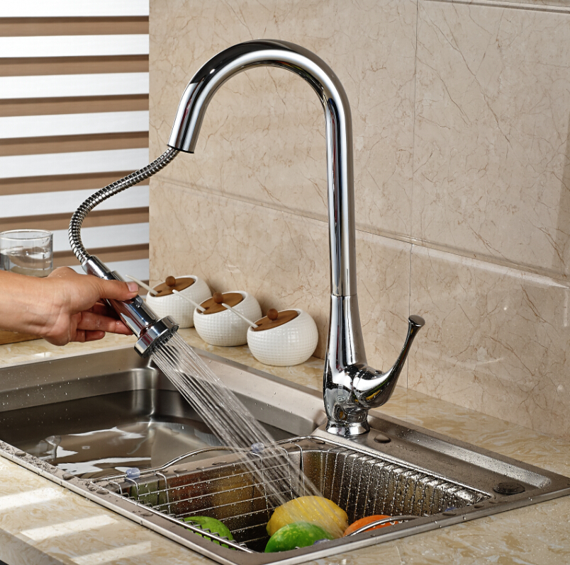 Deck Mounted Pull Our Vessel Sink Mixer Tap Kitchen Faucet Single Handle Hole Chrome Finish Hot and Cold Water newly chrome brass water kitchen faucet swivel spout pull out vessel sink single handle deck mounted mixer tap mf 302