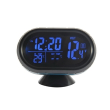 VST 3in 1 12V/24V Digital Car Voltmeter Thermometer Temperature Meter Battery Monitor B Meter Tester Monitor + electronic Clock