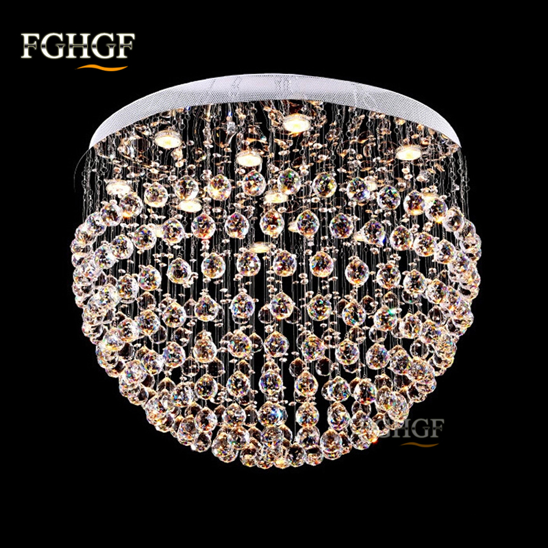 Luxury Crystal Chandelier Light Fixture Round K9 Crystal Lamp Flush Mounted chandeliers lighting Dining Light Fitting Bedroom
