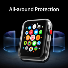 Full Case for Apple Watch 4 3 2 1 40MM 44MM Protective Resin Clear Ultra-Thin Cover Screen Protector Cover For iWatch 38MM 42MM