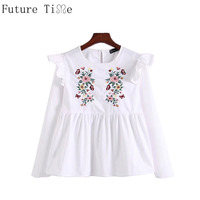 Future Time Women Embroidery Flower Shirts Long Sleeve O Neck Ruffles Blouses Ladies Summer Casual Tops