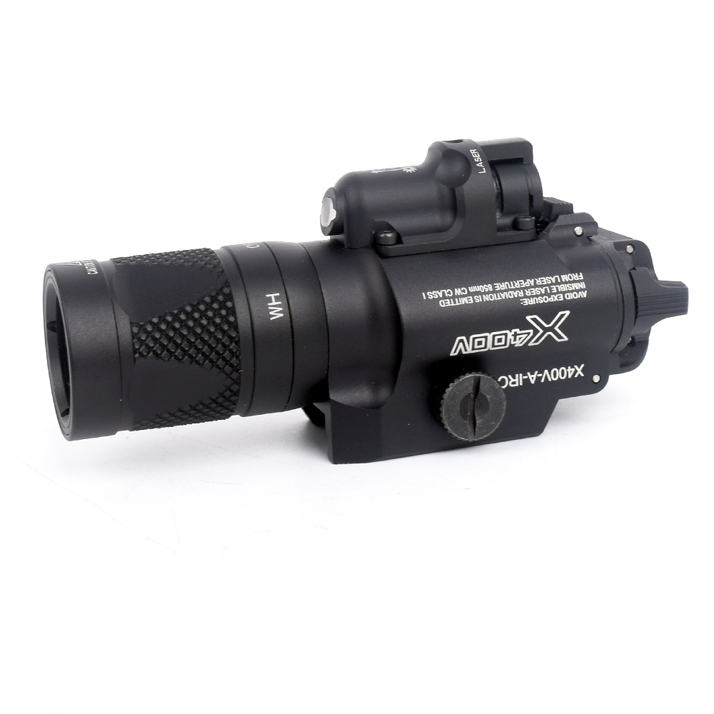 x400u a weapon light high output x400 ultra white light X400V Pistol Light X400V-A-IRC Weapon Light 500 Lumens White Light Combo Red Laser Constant/Momentary/Strobe Output Flashlight