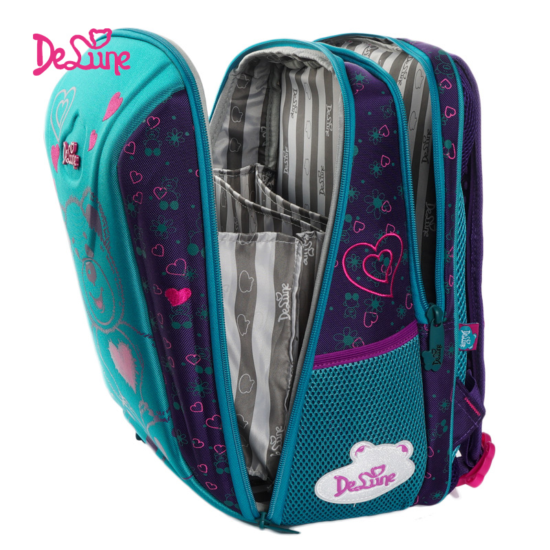 Delune New Children School Bags For Girls Boys Orthopedic Backpacks Bear Car Pattern School Backpacks Mochila Infantil Grade 1-5