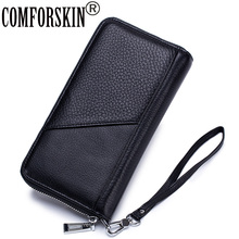 COMFORSKIN High Quality Cowhide Men Organizer Wallets 2019 Long Multi-Card Bit European and American Clutch Purse With Hand Rope