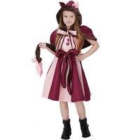Free Shipping Girls Children Alice The Cheshire Cat Costumes Kids Alicein Wonderland Cosplay Fancy Dress Halloween