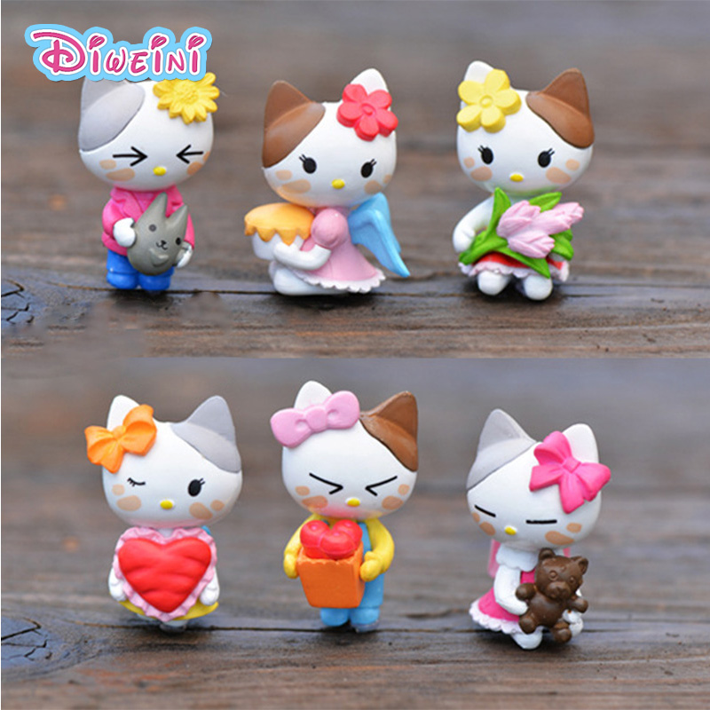 Animal Figurine Miniature Kitten-Model Pvc-Craft Gift Boy Toys Cat 6pcs/Set Angel Home-Decoration