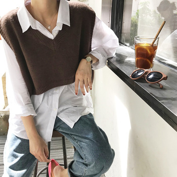 V Neck Cropped Sweater Vest Women Short Sleeveless Sweaters Fall 6