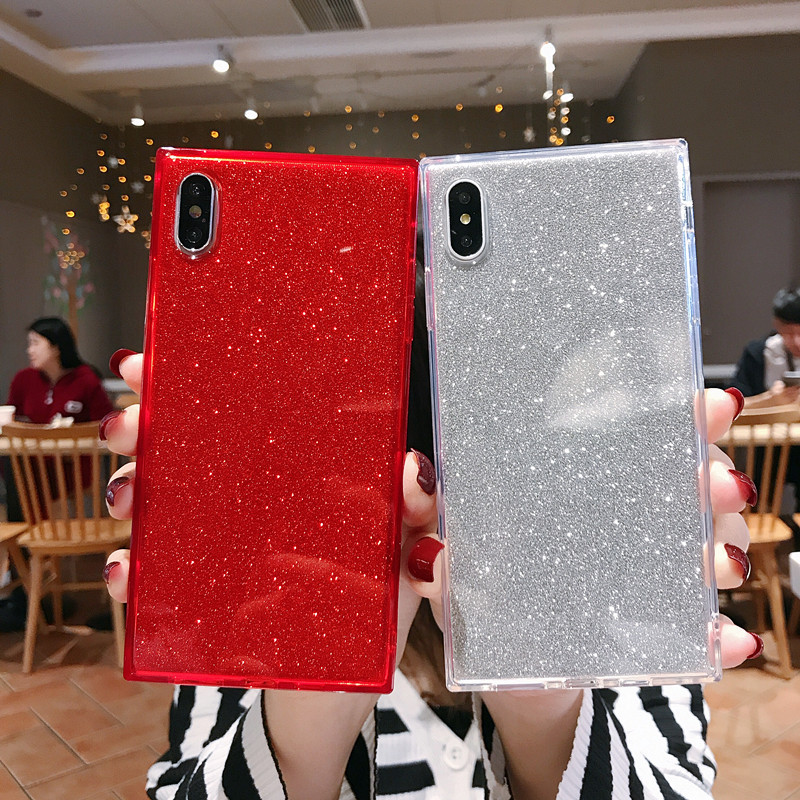 Square Shining Glitter Powder diamond Phone Case For iPhone X XR XS Max 8 7 Plus 6 6SPlus Transparent Soft Shockproof Back Cover iPhone