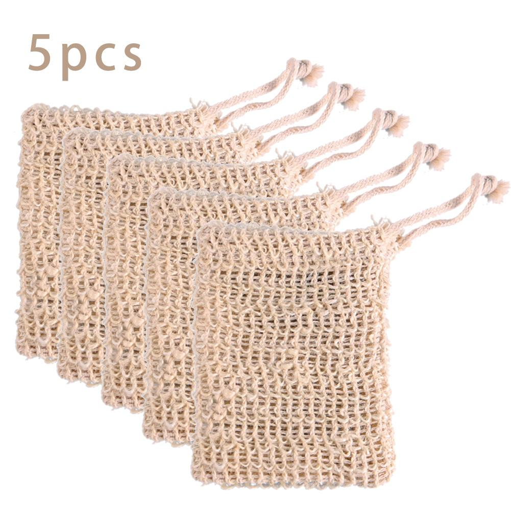 5 Pcs Natural Handmade Cotton Sisal Soap Bag Exfoliating Cleansers Soap Saver Pouch Holder Bath Soft Foaming Massage Organic Bag