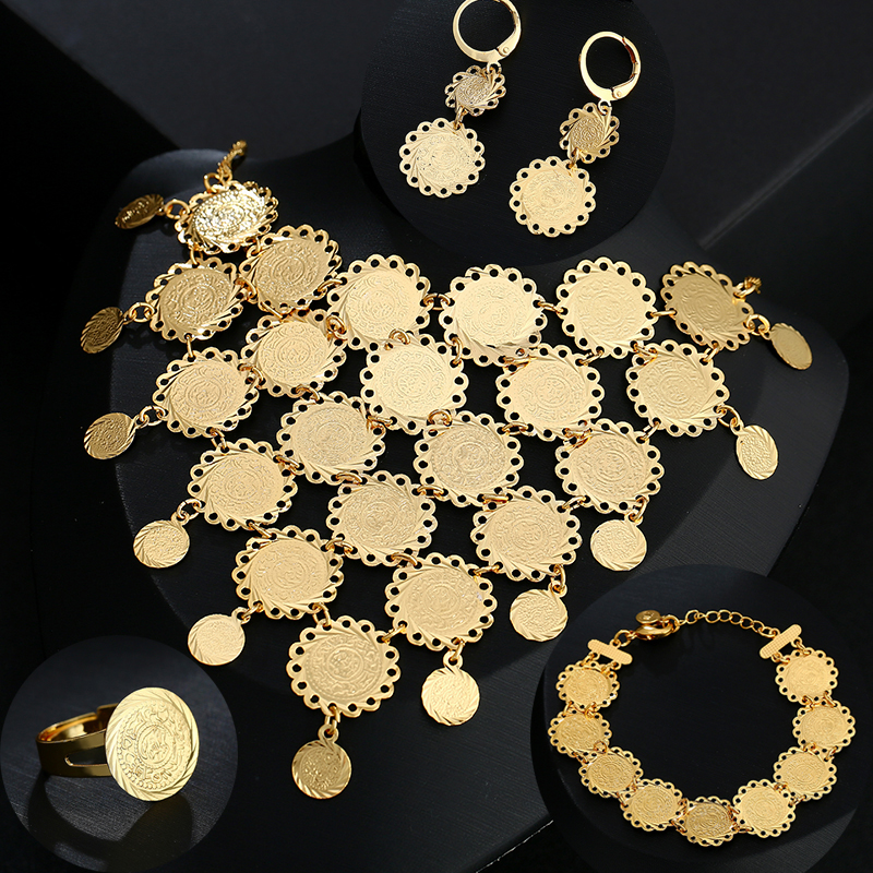 New exquisite Bridal wedding Gold Color Muslim Coin <font><b>Necklace</b></font> <font><b>Earrings</b></font> <font><b>Ring</b></font> <font><b>Bracelet</b></font> Sets for women Middle East Arab Jewelry gift image