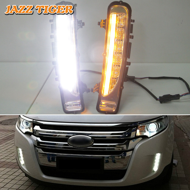 JAZZ TIGER Yellow Turning Signal Function Waterproof ABS 12V Car DRL Lamp LED Daytime Running Light For Ford Edge 2009   2014