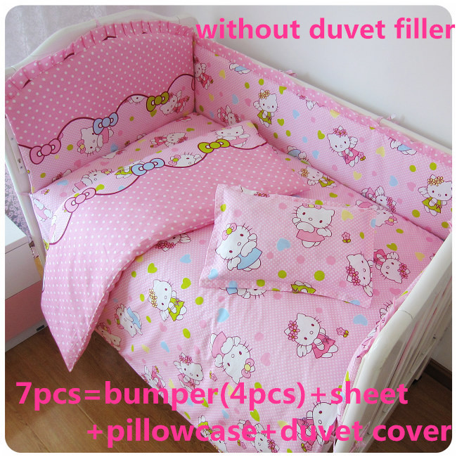 ФОТО Discount! 6/7pcs Hello Kitty Baby Bedding Set 100% Cotton Breathable Crib Bumper Reactive Printing,120*60/120*70cm