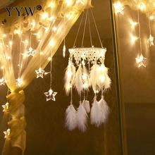 Led Light Dream Catcher Nordic Hanging Room Decoration Feather Hunter Substance Dreamcatcher Car Hoops Scandinavian Style Decor