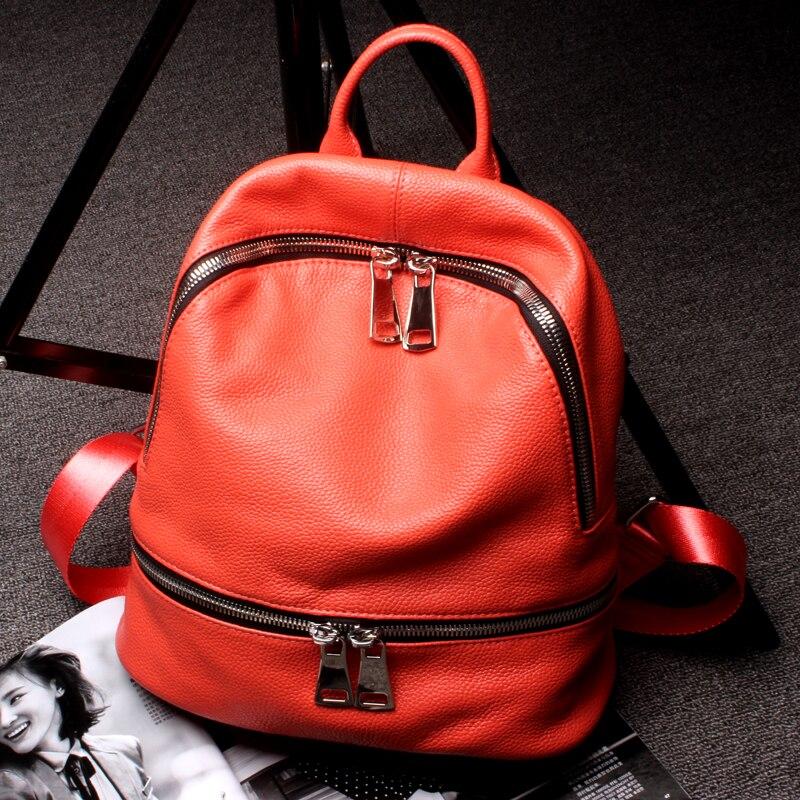 Модный 2019 женский 100% дизайнерский рюкзак из натуральной кожи черный женский маленький рюкзак для путешествий для девочек подростков; Sac A Dos Femme - 6