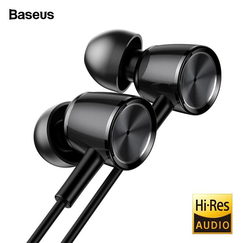 Baseus H07 Hi-Res Audio cable auricular auriculares con micrófono de Metal en la oreja los auriculares estéreo bajo con el sonido de 3,5mm jack auriculares kulakl k