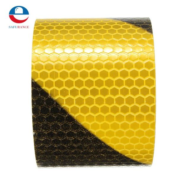 """2 """"x 10 3 м черного, желтого цвета светоотражающие безопасности Предупреждение видимости ленты фильм Стикеры для автомобилей плащ новое поступление"""