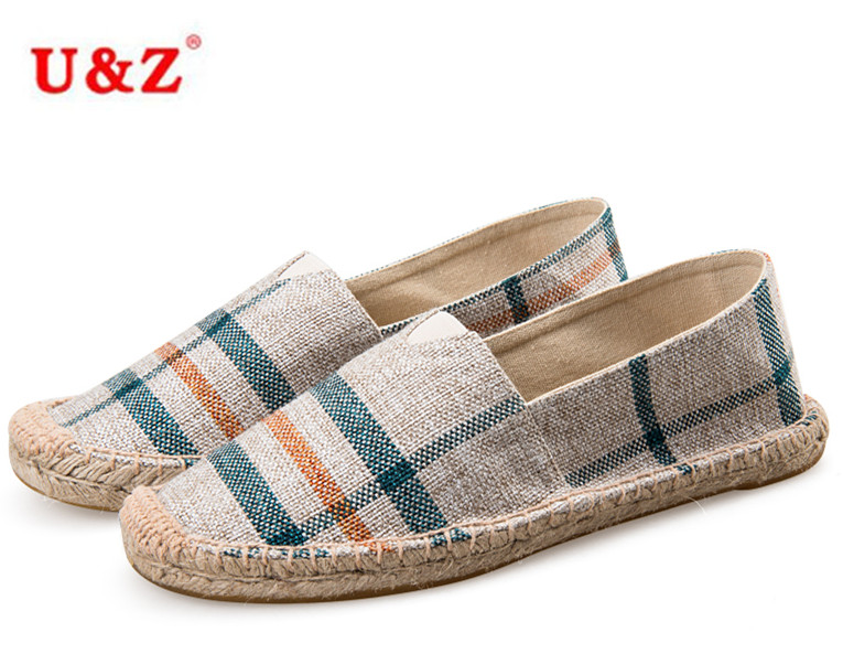 ФОТО Free Shipping Breathable Men Canvas Casual Flats,Blue Beige check pattern cotton shoes,slip-on Espadrilles elastic loafers