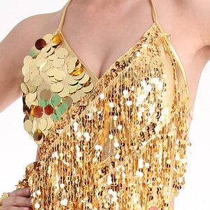 Image 3 - Женское платье для латиноамериканских танцев, юбка с бахромой и блестками, профессиональный костюм для латиноамериканских танцев