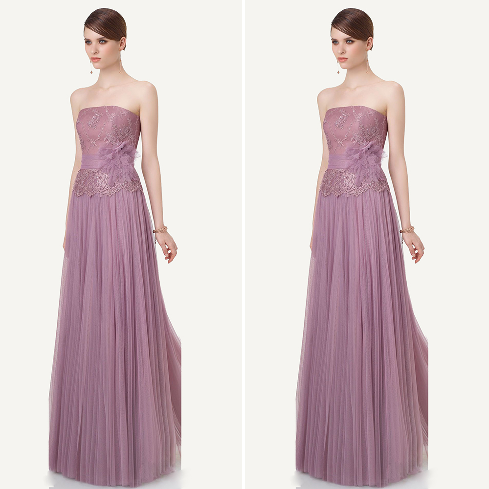 Pretty Light Pink/Lavender Tulle Lace Formal Dresses Flower Strapless Girls Evening Dress Long Cheap Evening Dinner Gowns PE20