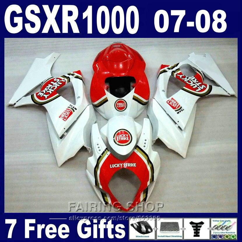 New hot motorcycle fairing kit For Suzuki GSXR 1000 07 08 white red fairings set GSXR1000 2007 2008 PG04