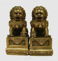 China Chinese Brass Folk Fengshui Foo Fu Dog Guardion Door Lion Statue Pair