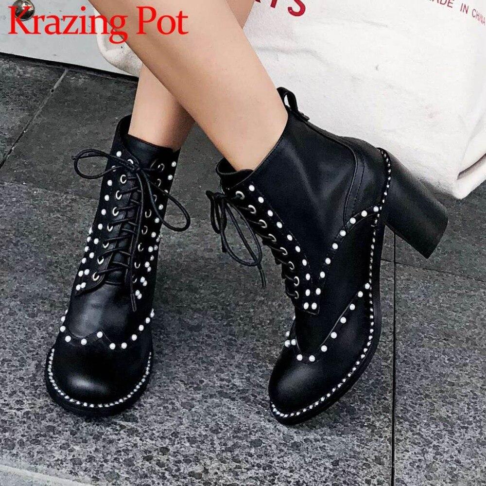 Style européen bout rond perles talons hauts en cuir de vache belles filles moto bottes à lacets classique hiver bottines L69