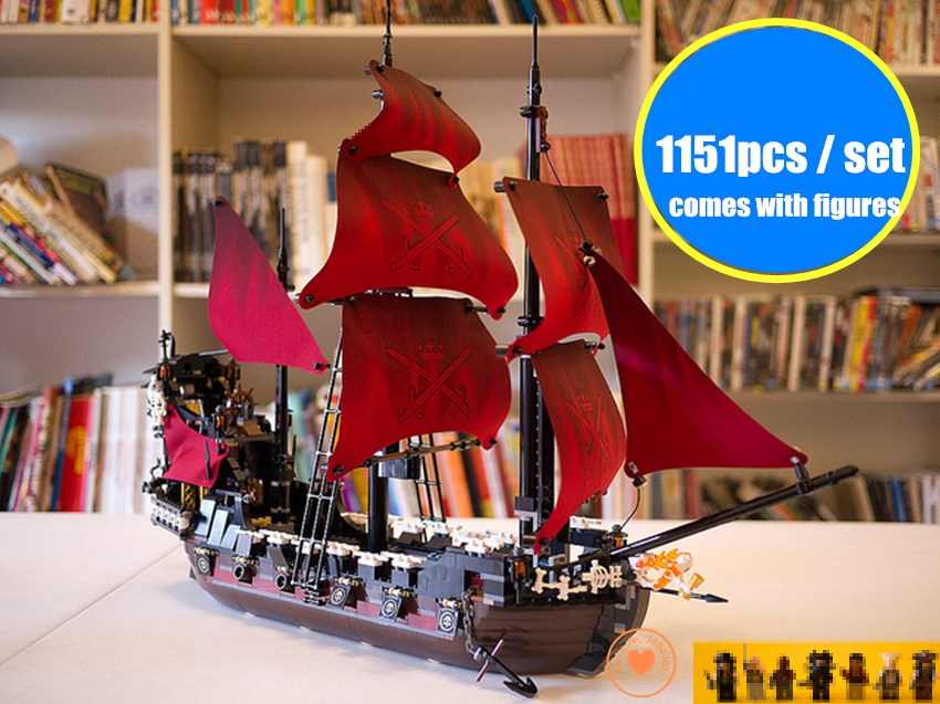 New Queen Anne's revenge Pirates of the Caribbean fit legoings military Caribbean Pirates figures Building Block Bricks fit 4195 pirates of the caribbean at world s end level 3 cd