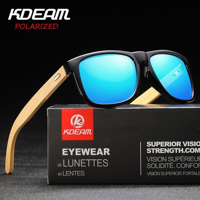 Men's Fashion Polarized Sunglasses 2019 New KDEAM Brand Bamboo Legs Sunglasses Travel Driving Mirror Sun Glass Male Eyewear 8805