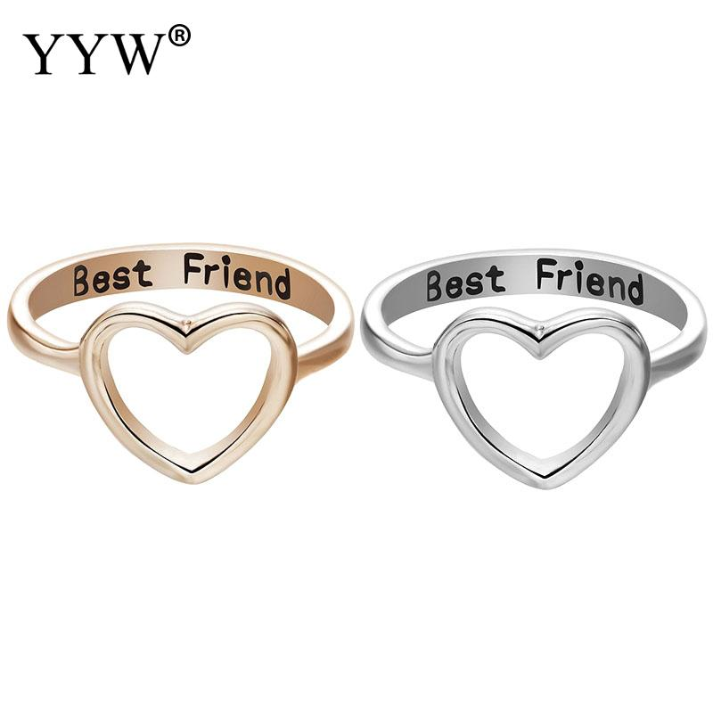 30975594dbb3d US $1.83 45% OFF|1PC Gold Silver Color Best Friend Heart Shape Love Finger  Ring For Friendship Band Eternal Forever BBF Promise Jewelry Gift-in Rings  ...