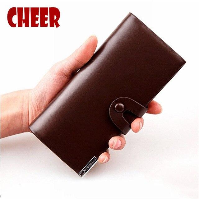 2017 new men's wallet with purse wallet men luxury brand wallets Simple fashion buckle student wallet Multi-bit money clip