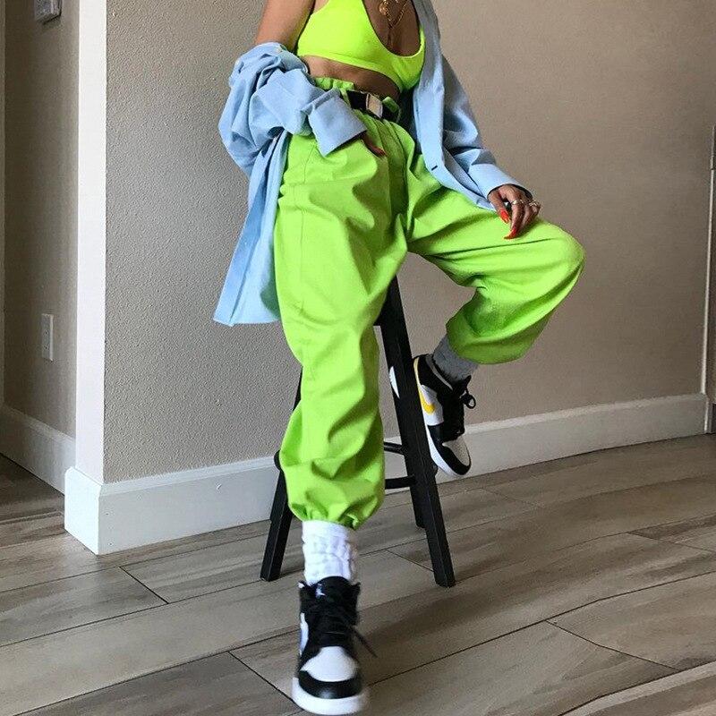 Women Pants Hip Hop Dance Pants Neon Green Harem Pants Street Dance Clothing Pole Dance Rave Pants