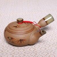 250 ملليلتر الصين الخيزران نمط الفخار إبريق الشاي gongfu الخيزران اليدوية اللوحة infuser غلاية السيراميك الطين مجموعة الخزف