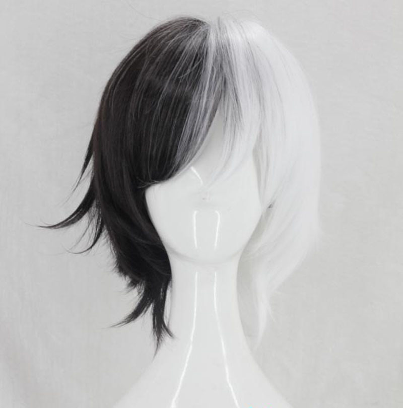Bungo Stray Dogs Kyuusaku Yumeno Wigs Half Black Half White Short Synthetic Hair Heat Resistant Fiber Cosplay Wig