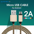 OUDNEAS Micro USB Cables 2A 1M 2M Metal Braided Cord Data Sync Wire Charger For Samsung Galaxy Xiaomi HTC Android phones Cables